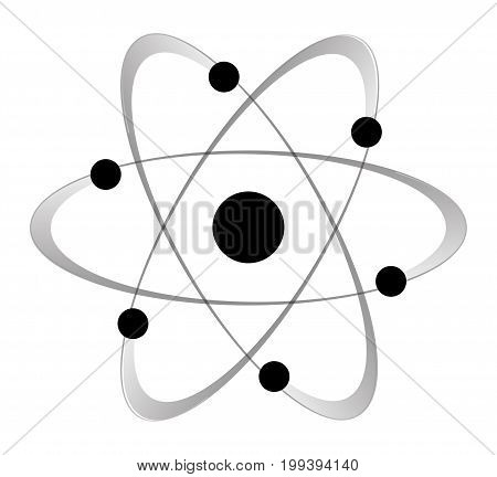 Abstract atom with six orbiting electrons and their path over a white background