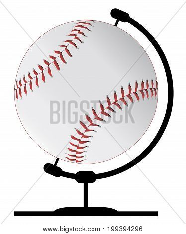 A baseball globeon a traditional swivel stand isolated on a white background