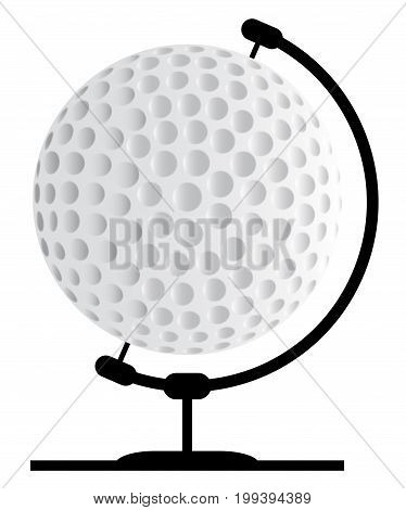 A golfball globe on a traditional swivel stand isolated on a white background