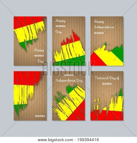 Guinea Patriotic Cards For National Day. Expressive Brush Stroke In National Flag Colors On Kraft Pa