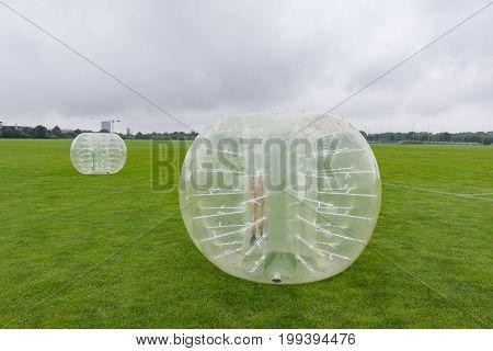 Playing soccer in a bumperball a new funsport in Copenhagen Denmark - July 27 2017