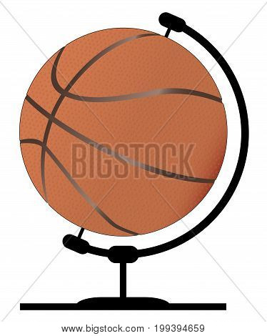 A basketball globe on a traditional swivel stand isolated on a white background