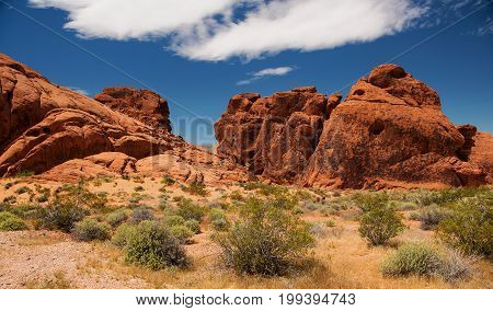 Aztec sandstone rock formations at the Valley of Fire State Park near Overton Clark County Southwest Nevada USA
