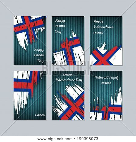 Faroes Patriotic Cards For National Day. Expressive Brush Stroke In National Flag Colors On Dark Str