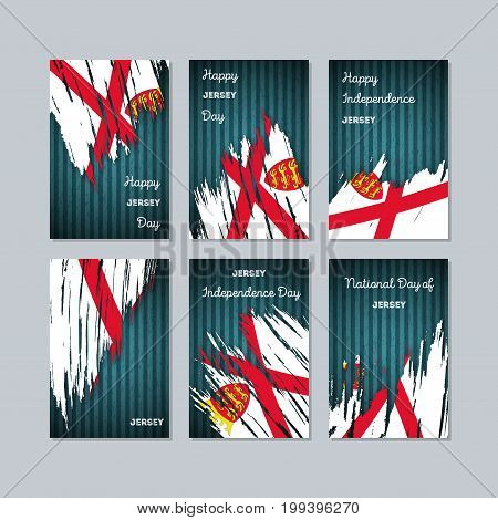 Jersey Patriotic Cards For National Day. Expressive Brush Stroke In National Flag Colors On Dark Str