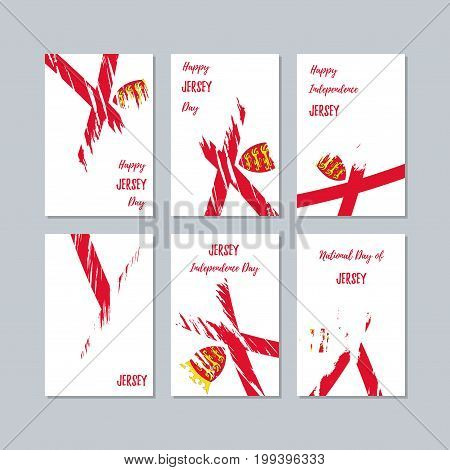 Jersey Patriotic Cards For National Day. Expressive Brush Stroke In National Flag Colors On White Ca