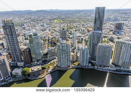 BRISBANE, AUSTRALIA - AUGUST 1 2017: Aerial view of Brisbane Riverside, overlooking Queen Street CBD area.