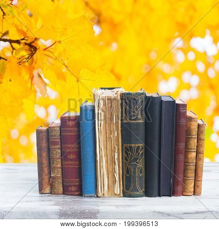set of books on white wooden desktop, fall leaves background, back to school concept