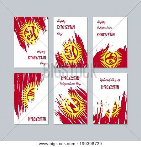 Kyrgyzstan Patriotic Cards For National Day. Expressive Brush Stroke In National Flag Colors On Whit