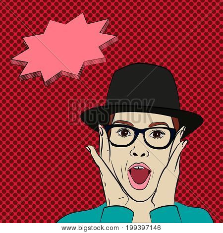 Cartoon surprised wow girl wearing hat and eyeglasses and holding her face in hands, ads, banner, poster for sale , discount, business