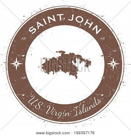 Saint John Circular Patriotic Badge. Grunge Rubber Stamp With Island Flag, Map And Name Written Alon