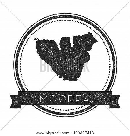 Moorea Map Stamp. Retro Distressed Insignia. Hipster Round Badge With Text Banner. Island Vector Ill