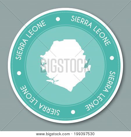 Sierra Leone Label Flat Sticker Design. Patriotic Country Map Round Lable. Country Sticker Vector Il