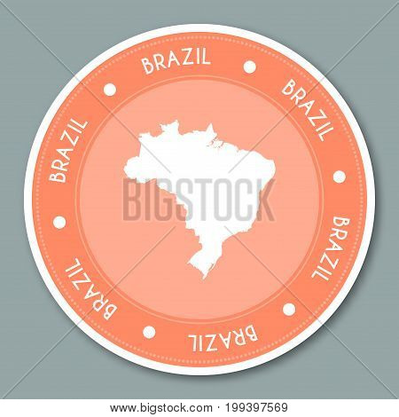Brazil Label Flat Sticker Design. Patriotic Country Map Round Lable. Country Sticker Vector Illustra