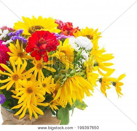 Bright fall bouquet flowers isolated on white background