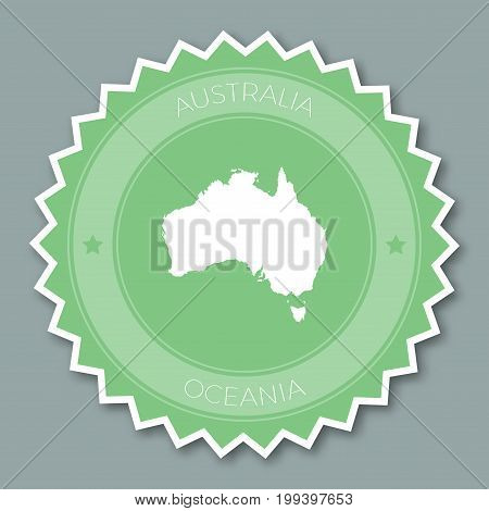 Australia Badge Flat Design. Round Flat Style Sticker Of Trendy Colors With Country Map And Name. Co