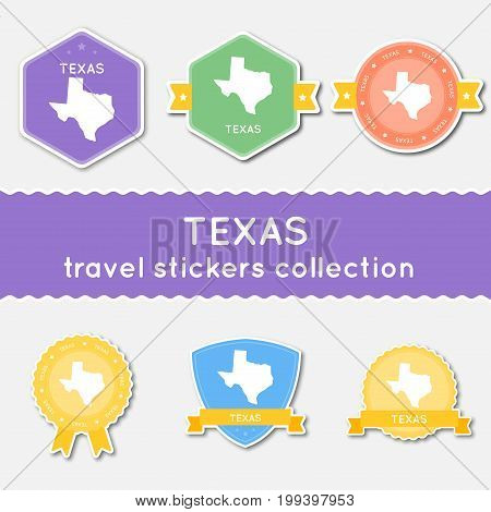Texas Travel Stickers Collection. Big Set Of Stickers With Us State Map And Name. Flat Material Styl