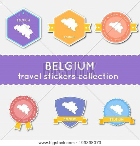 Belgium Travel Stickers Collection. Big Set Of Stickers With Country Map And Name. Flat Material Sty
