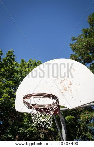 Vertical shot of an older basketball hoop