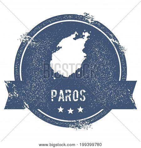 Paros Logo Sign. Travel Rubber Stamp With The Name And Map Of Island, Vector Illustration. Can Be Us