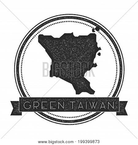 Green Island, Taiwan Map Stamp. Retro Distressed Insignia. Hipster Round Badge With Text Banner. Isl