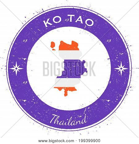 Ko Tao Circular Patriotic Badge. Grunge Rubber Stamp With Island Flag, Map And Name Written Along Ci