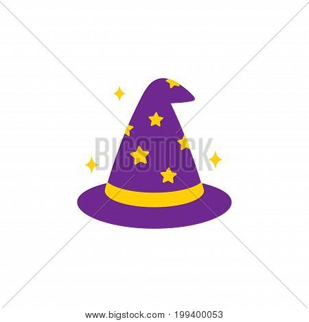 Simple cartoon wizard hat icon vector illustration.