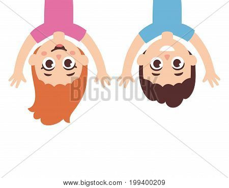 Funny cartoon children boy and girl hanging upside down. Cute vector illustration.