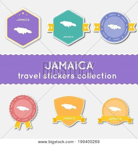 Jamaica Travel Stickers Collection. Big Set Of Stickers With Country Map And Name. Flat Material Sty