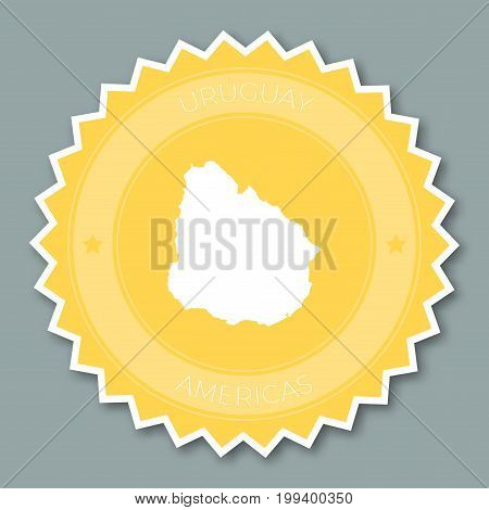 Uruguay Badge Flat Design. Round Flat Style Sticker Of Trendy Colors With Country Map And Name. Coun