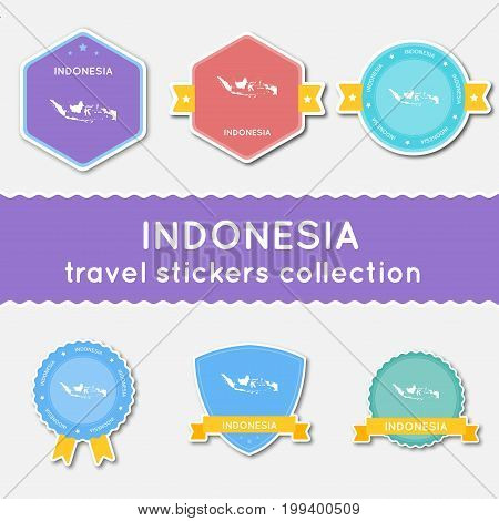 Indonesia Travel Stickers Collection. Big Set Of Stickers With Country Map And Name. Flat Material S