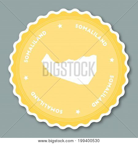 Somaliland Sticker Flat Design. Round Flat Style Badges Of Trendy Colors With Country Map And Name.
