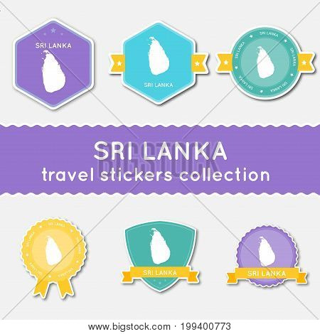 Sri Lanka Travel Stickers Collection. Big Set Of Stickers With Country Map And Name. Flat Material S