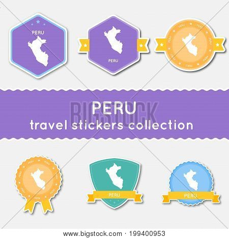 Peru Travel Stickers Collection. Big Set Of Stickers With Country Map And Name. Flat Material Style