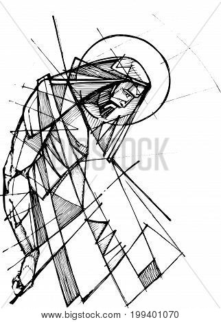 Hand drawn ink vector illustration or drawing of Jesus Christ at his Passion