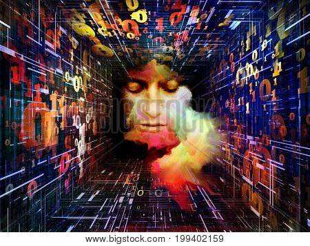 Mathematics and the Mind series. Combination of surreal female portrait and tunnel of numbers on the subject of science technology thinking imagination and creativity.