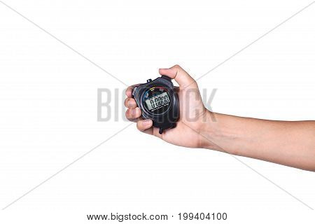 stopwatch on hand isolated on white background with space for copy.