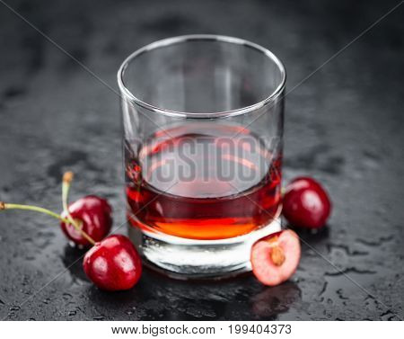 Portion Of Cherry Liqueur On A Slate Slab