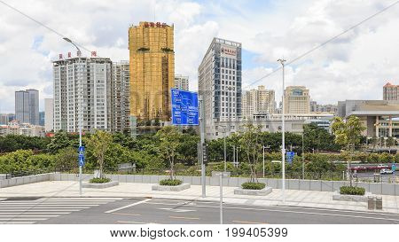 NanNing China - August 10 2017: Panoramic view of the skyline of Nanning the capital of GuangXi province in China