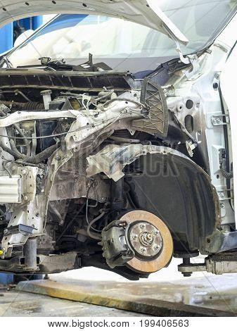 Car in body shop of a car repair station