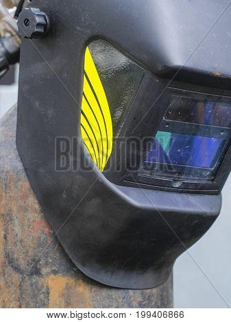 Welding helmet close up