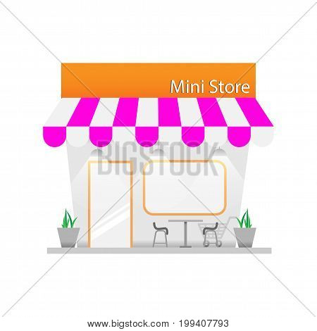 Mini Shop Building For Variety Business. Vector illustration.