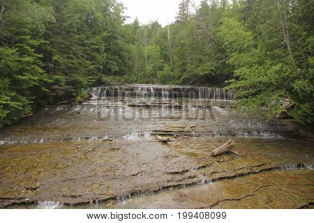 The lower Au train waterfall in Upper Peninsula of Michigan