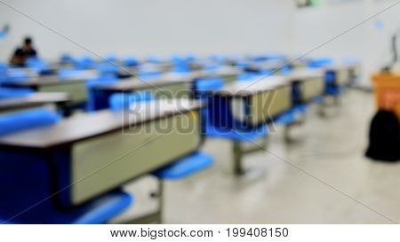 Blurred Classroom In Campus With Noise And Gain.