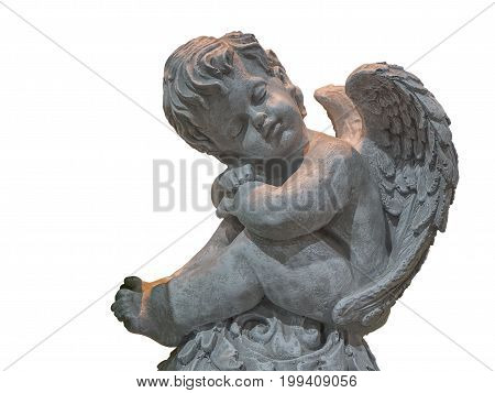 Cupid sculpture On a white background. (clipping path)