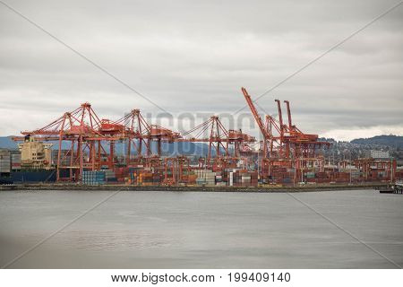 Vancouver Canada May 2017 harbor industrial shipping dock cranes