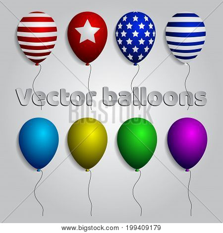 Colorful realistic helium balloons isolated set, vector illustration