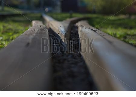 Old railway iron path nature close up shallow depth of field