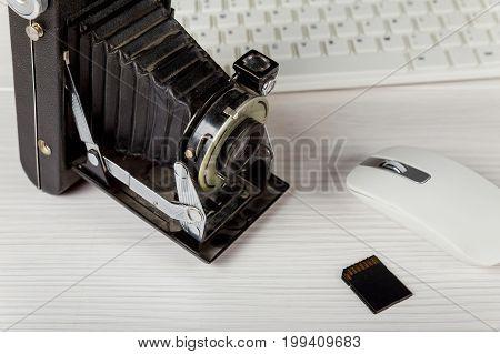 Old Camera Flash Card Keyboard Memory Cards