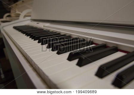 Classical white piano keyboard art melody background